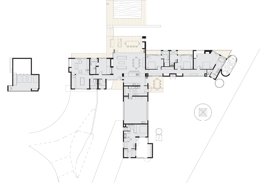 River house 26 39 10 south architects T shaped house plans